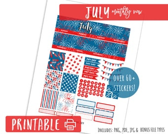 July Monthly View - 4th of July- Printable Planner Stickers Month Kit Erin Condren Life Planner