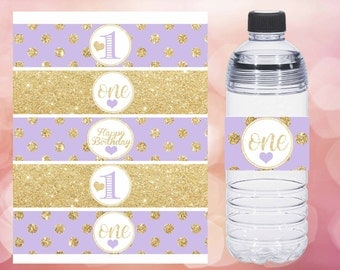 First Birthday Water bottle lables, Lavender and gold water bottle labels, gold polka dot water labels, Digital File