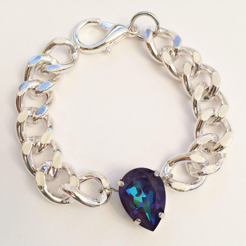 lustre pear swarovski crystal stacking bracelet in ultra
