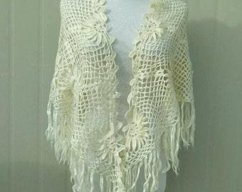 Triangle Fringe Crochet Flower Shawl Scarf
