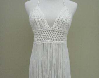 White Fringe Crochet Halter Crop Top