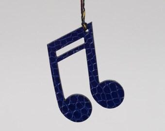 Note de musique charm pour sac cuir, bleu noir,  Alligator,   bag charm, pendentif breloque cuir, cadeau musicien, luxe et original,