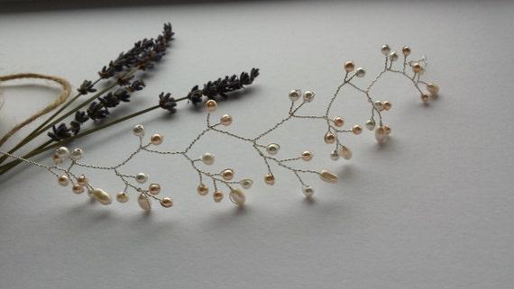 Simple Ivory and Vintage Rose Pearl Hair Vine