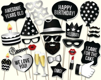 Birthday photo booth props: printable PDF. Black and silver birthday party supplies. Instant download. Mustache, glasses, happy birthday