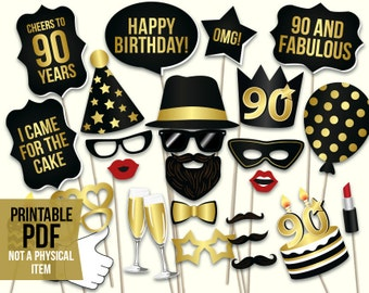 90th birthday photo booth props printable PDF. Black and gold ninetieth birthday party supplies. Instant download Mustache, lips, glasses