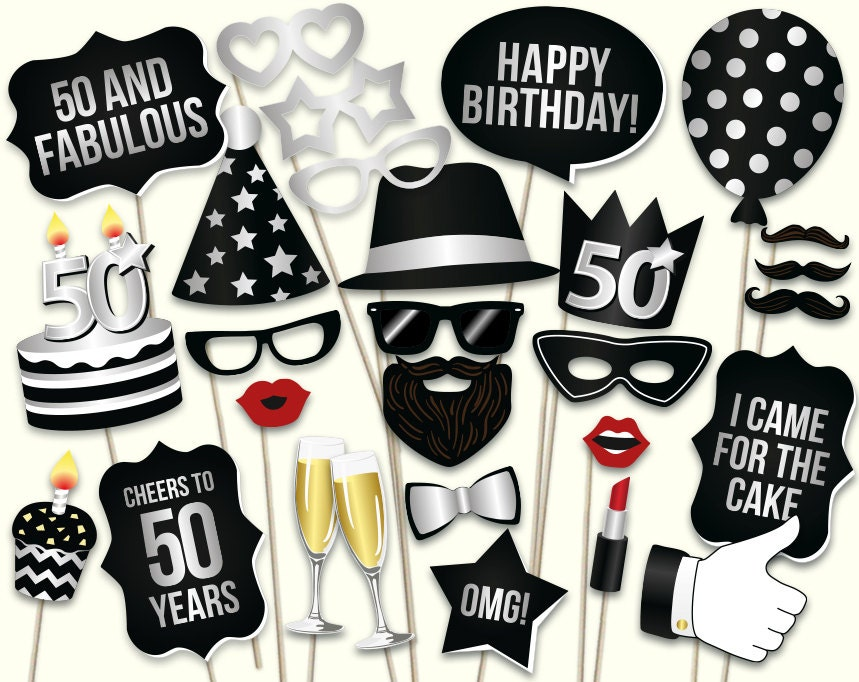 Printable Birthday Photo Booth Props ~ Th birthday photo booth props printable pdf party