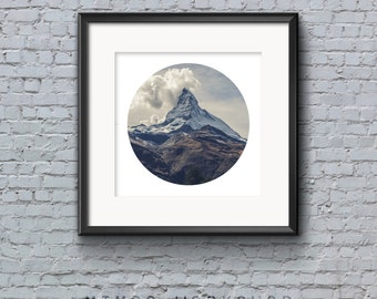 Mountain Circle Print, Matterhorn Print, Nature Wall Art