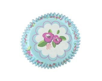 Vintage Rose cupcake cases 36 pack. Blue