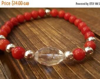 ON SALE/VENTE Stretch bracelet. Bamboo coral beads.  Yoga bracelet.  Women's bracelet. BOho bracelet. Zen. Healing bracelet. Red bracelet. M