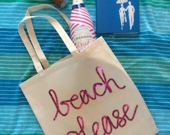 """Canvas Tote """"beach please"""""""