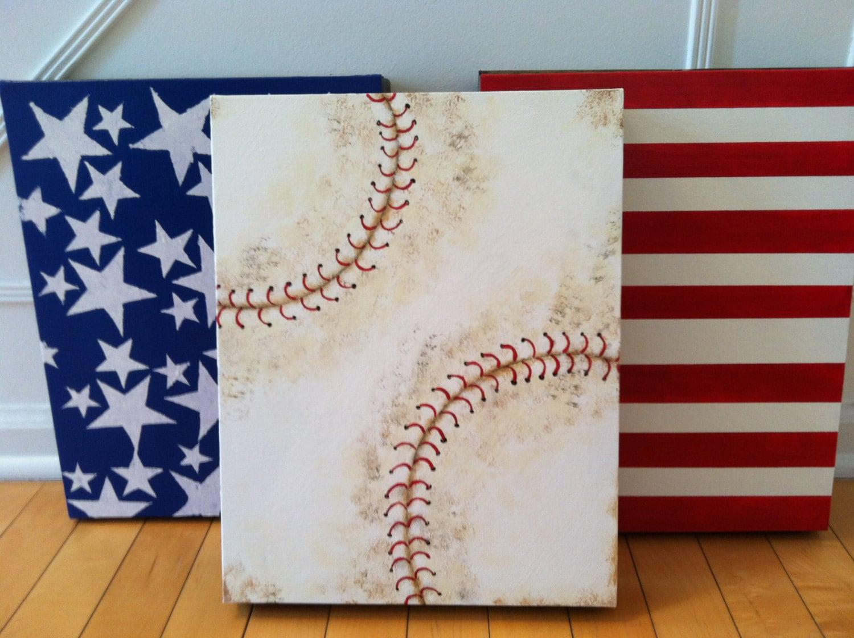 American Baseball Flag Baseball Art For Boy Room Boy Room