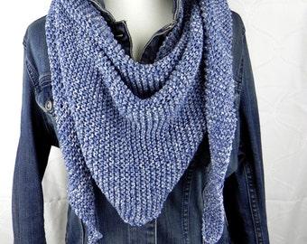 """HANDKNIT shawl """"DENIM"""" scarf cloth scarf shawl cotton"""