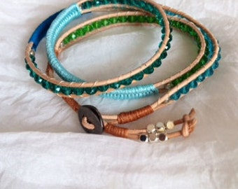 Handmade beaded leather 3 wrap bracelet with 4 mm czech glass beads