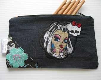 Holster pencil with embroidery girl skull