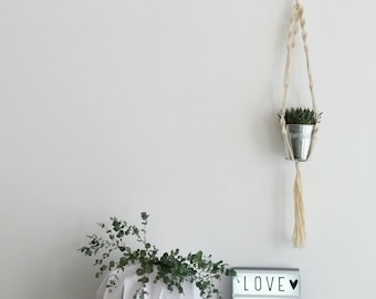 Hanging/macrame planthanger for Succulents or other Timeless house plants.