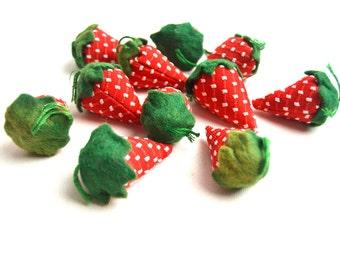 vintage handmade fabric strawberries
