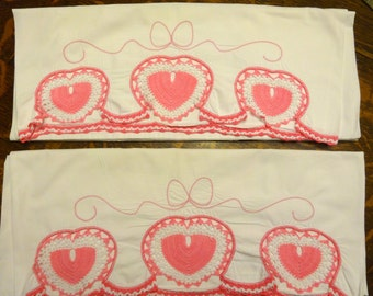 Vintage Hand-Crocheted Pillowcases, pink and white