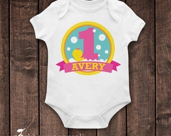Girl Rubber Ducky Birthday Shirt - Rubber Duck Birthday Shirt - Personalized 1st Birthday T Shirt - Rubber Duckie First Birthday Outfit