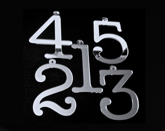 7.5cm/Table Number SETS, Wedding,Party,Restaurant or Club Table No's Silver Mirror/HANGING  by VividLaser-A