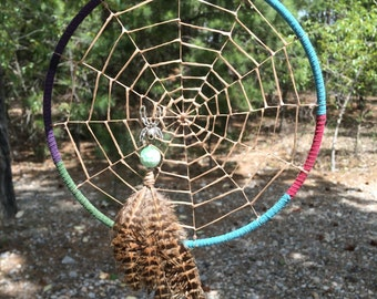 Spider web dream catcher green Jasper