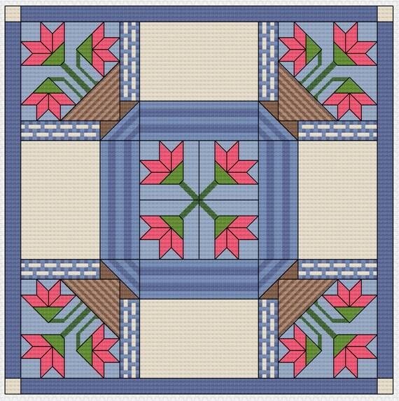 Cross Stitch Quilt Patterns : Cross Stitch Pattern Quilt Block Basket Basket