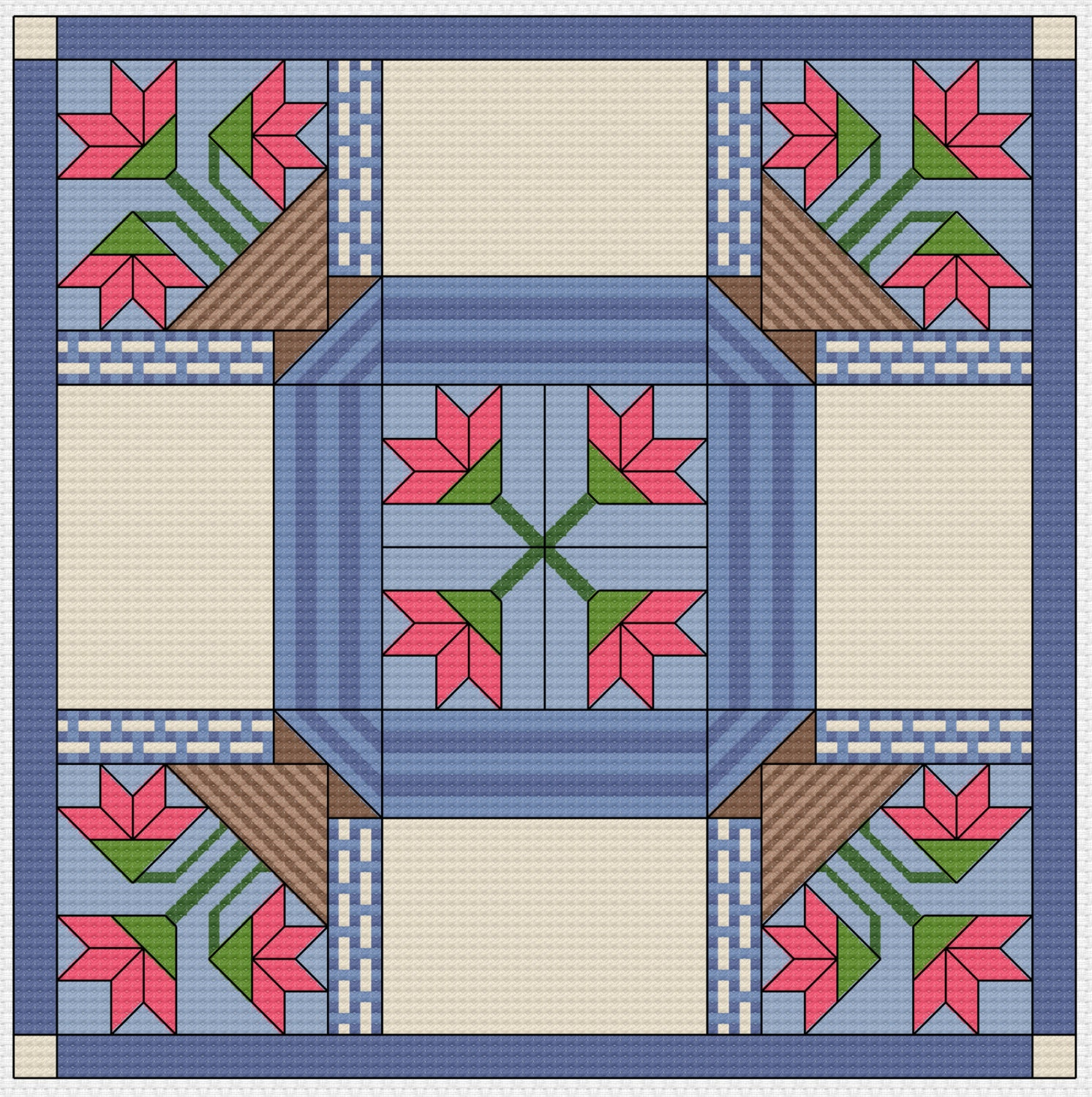 Quilt Patterns Cross Stitch : Cross Stitch Pattern Quilt Block Basket Basket