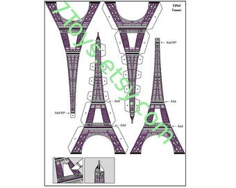 Paper toy Eiffel Tower for self-assembly. Printable A4 PDF and JPEG. Instant Download.