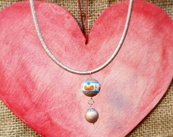Ceramic and Silver 925 charm necklace