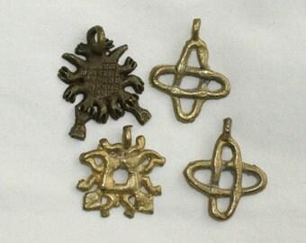 4 Brass Pendants, Unusual and Different, Handmade, African Brass Lost Wax Method