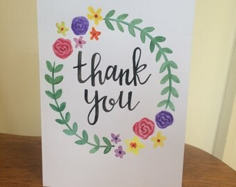 Handmade Thank You Card, Custom Greeting Card, Handpainted Card, Watercolor Thank You, Blank Greeting Card, A7 Thank You Card, Calligraphy