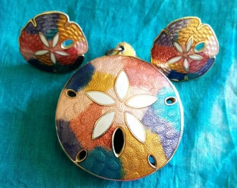 Gorgeous Cloisonne Sand Dollar Pendant and Earring Set