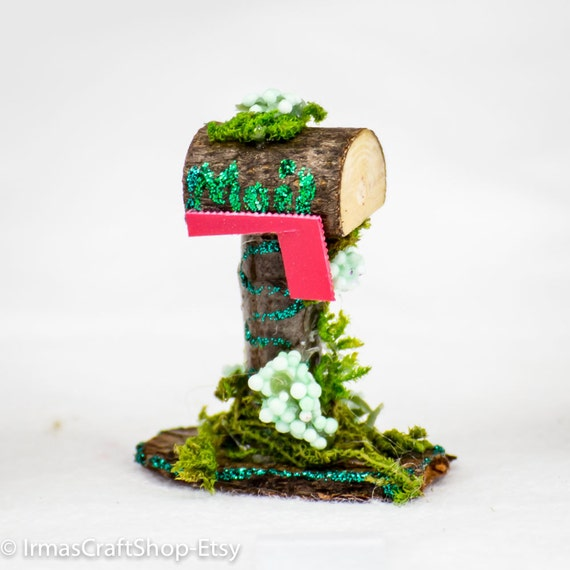 Fairy garden mailbox faerie item fairy twig item fairy for Little fairy mailbox