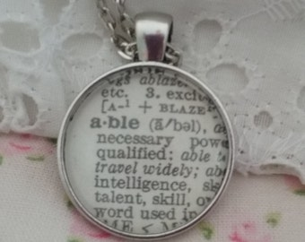 """Handcrafted Vintage Dictionary Word Necklace - """"Able"""""""
