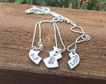 New Hand Stamped Big, Middle, Little Sister Necklace Set
