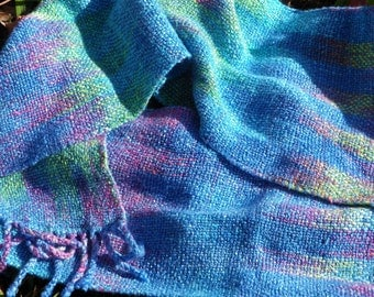 Blue Pink Green Striped Scarf Hand Woven