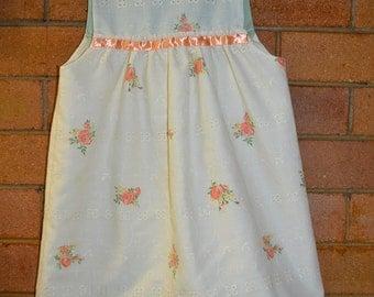 Old world vintage girls cream and floral dress
