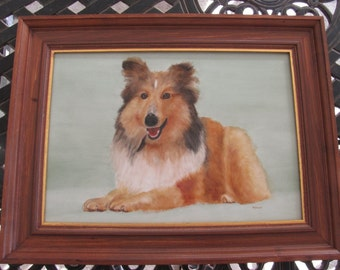 Original Sheltie Shetland Sheepdog Hand Painted on Tile—OOAK Photorealism