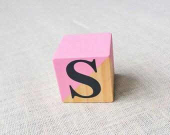 1 x ~ Pine, wood block ~ Custom colour wood dipped word/name blocks. 7x7cm Personalised.