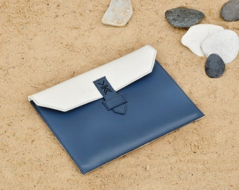 Handmade Genuine Leather and Natural Wool Felt iPad case / clutch. Decorated with etno patterns. For men and women