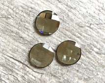 14mm Round Swarovski Chessboard Faceted Glass Silver Shade Crystal Cabochon with Flat Back and Low Dome--sold individually