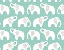 Turquoise Elephant Flannel Fabric by Cloud 9, 100% certified organic cotton, UK Seller, New Fabric Collection, Fat Quarter, Baby Blanket
