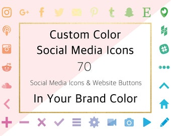 Custom Social Media Icons, Custom Color Social Icons and Website Buttons, Customised Social Media Website and Blog Graphics