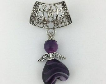 Scarf jewelry pendant with purple angel