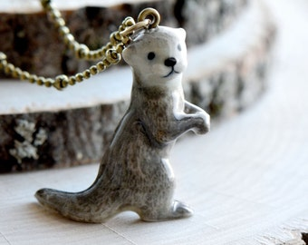 Hand Painted Porcelain Standing Otter Necklace, Antique Bronze Chain, Vintage Style Otter, Ceramic Animal Pendant & Chain (CA109)