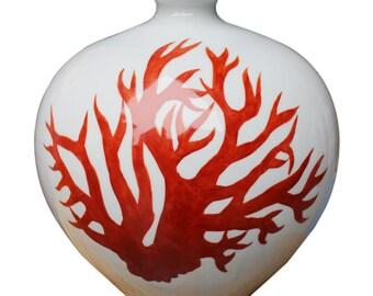 Red Coral Handmade Porcelain Pomegranate Vase