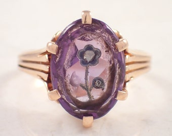 14K Yellow Gold Victorian Amethyst and Diamond Ring