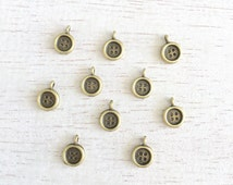 10  Tiny Antique Bronze Buttons Charms,Buttons Charms,Pendant,Jewelry Making Charms 12x8mm Lot #391