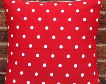 """NEW Red Polka Dot 16"""" Cushion Cover Shabby Chic, Country Cottage, Vintage Style ••100% COTTON••"""