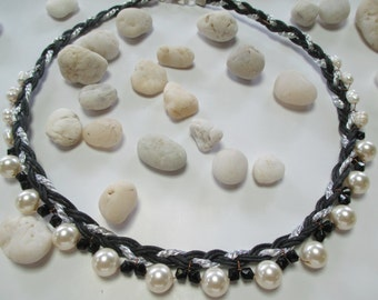 2.Braided rope necklace  with imitation good pearls