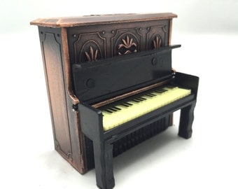 Vintage piano pencil sharpener, metal die cast piano model, bronze,miniature retro piano from 1970s